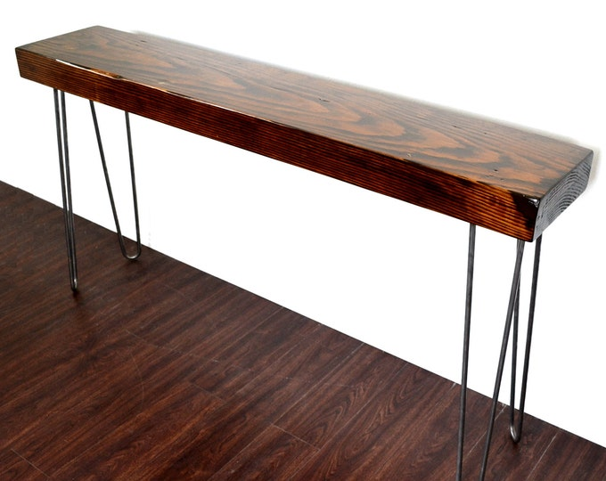 Featured listing image: Console Table Reclaimed Wood Industrial Beam On Hairpin Legs SALE ITEM
