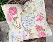 Vintage 1940s Buttercream Barkcloth Fabric Custom Decorative Throw Pillow with Pink English Cabbage Roses & Lilacs