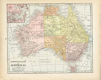 AUSTRALIA and SOUTH AFRICA 1903 Map Large Double-Sided Peerless Atlas Page