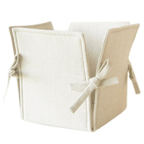 Linen storage basket with ties SALE