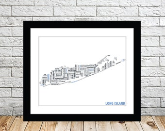 Long Island Typography Map 8x10 Print