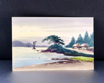 JAPANESE WATERCOLOR POSTCARD. watercolour painting . japan. oriental No.002032