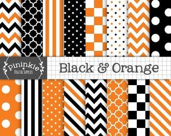 Halloween Digital Paper, Black and Orange Scrapbook Paper, Commercial Use, Orange and Black Chevrons, Orange Polka Dots, Instant Download
