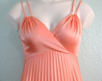 Vintage 60s Peach Grecian Gown