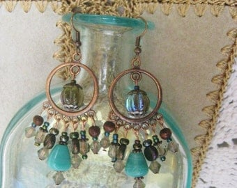 Turquoise chandelier earrings, Bohemian copper chandelier earrings with turquoise, hematite, and champagne glass