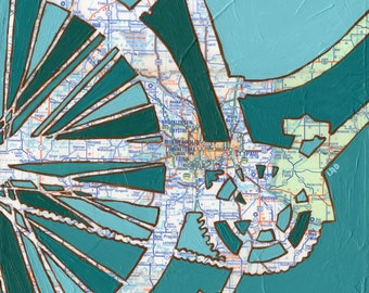 Bike Twin Cities print -Minneapolis, St. Paul, Minnetonka, Minnesota bike art print