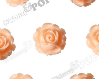 Vintage Deco Shabby Chic Peach Rose Bud Resin Cabochons, Flower Cabochons, Rose Cabochons, Flat Back Embellishment, 15mm x 8mm (R1-092)