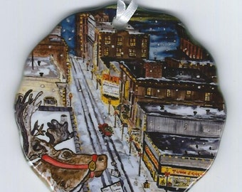 Santa is Coming to Town Marquette Mi. Christmas Series ornament