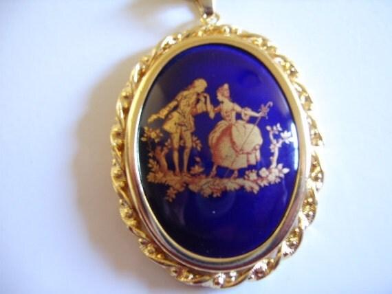 Vintage Limoges France Blue Porcelain Pendant Necklace Gift