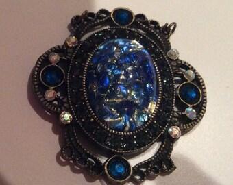 OOAK Cobalt Blue Opal Pendant 25x18mm Oval Cabochon 48x44mm Antique Brass Pendant