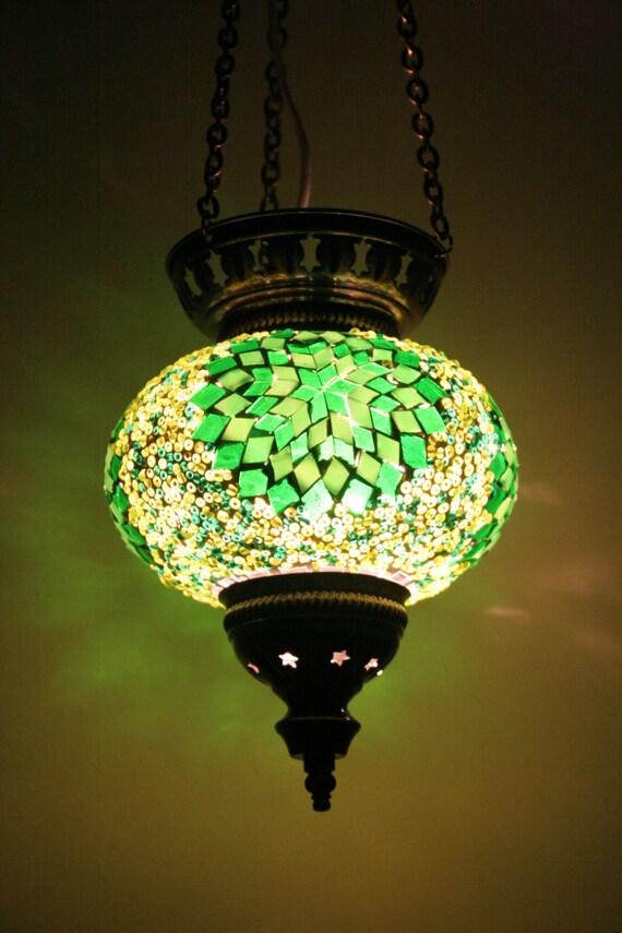Large Turkish Moroccan Mosaic Hanging Lamp Pendant Lantern