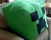 "Giant Huge Minecraft Creeper Inspired Bright Green Flannel Soft Zipper Beanbag Pillow Stuffed Animal 20"" Cube"