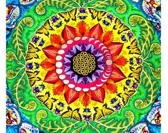 Samsara Mandala Print (Psychedelic Trippy Spiritual Rainbow Radial Pattern with Sacred Geometry Flower of Life, Moons, Ferns, Chameleons)