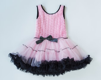 Girls Custom Dress Pink Dress  Petti Dress Girls Dresses Birthday Dress Pink/Black Petti Dress Ruffles  Sizes 12months through Size 5
