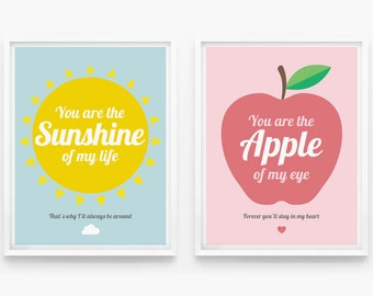 You Are The Sunshine Of My Life, Nursery Decor, Children Wall Art set of 2