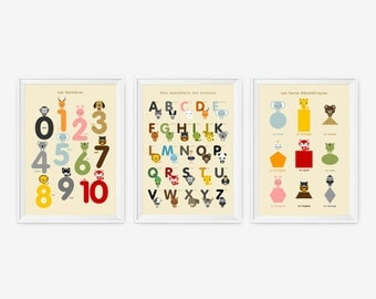 French Alphabet, Number & Shape Posters, Kids wall art animal art print set of 3, Nursery Art, Children Room Decor, Classroom Decor
