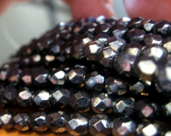 Czech Glass Beads Shiny Hematite Faceted Fire Polished Beads 4mm 50 pieces