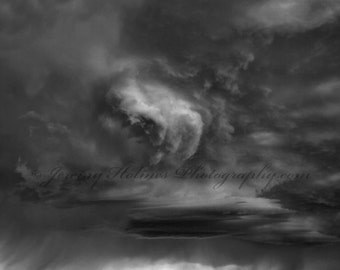 Fine art Black and White print of a storm with windmill in Kansas