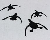"Ducks in Flight ""Coming in Hot"" Set of 4 Metal Wall Art Home Decor"