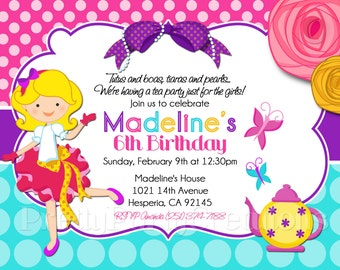 FANCY GIRL TEA Party invitation - You Print - 3 to choose