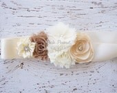 Bridal Burlap Wedding sash- Wedding sashes and belts- flower girl sash- Wedding Sash-  sash- Bridesmaid sash- Bridal belt- flower girl belt