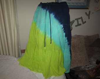 Tie dye skirt, adult Small,  Diagonal sections of chartreuse, seagreen, and navy- 280