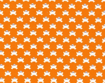 Lotus Pond Hopping Along in Orange, Rae Hoekstra, 100% GOTS-Certified Organic Cotton, Cloud9 Fabrics