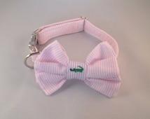 Preppy Pink Seersucker Alligator Girl Bow Tie Dog Collar, Seersucker Girl Bowtie Dog Collar, Custom Dog Collar, Preppy Dog Collar, Alligator