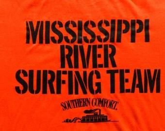 vintage 70s 80s Bright Orange T Shirt ultra thin tee Medium Southern Comfort Drinkin Party funny Whiskey USA