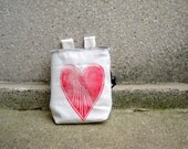 sale...MOUNTAINLOVE red..made.to.order - a handcarved, blockprinted, rock climbing chalk bag..