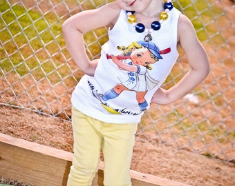 tshirt baseball tank cap sleeve one piece Vintage inspired Childrens tshirt, tank Softball tshirt
