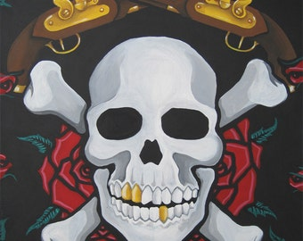 Pirate Art Skull, Roses and Crossing Guns Print of Original Painting Jolly Roger Gothic Art