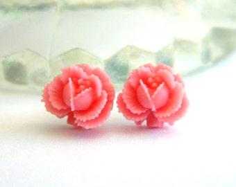 Pink Rose Earrings, Cabbage Rose Earrings, Flower Post Earrings, Little Flower Earrings, Dainty Earrings, Mini Flower Studs, Ear Studs