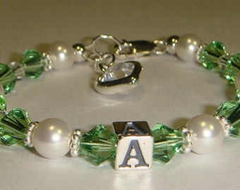 Girl's Initial Bracelet - Swarovski Pearls & Crystals - Butterfly, Flower or Heart Charm - more colors available - Flower Girl