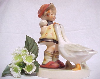 Hummel Goose Girl, Vintage Collectible Farmyard Figurine, West Germany TMK 3 1960 - 1972, Hand Painted Porcelain Figure of Girl and Geese