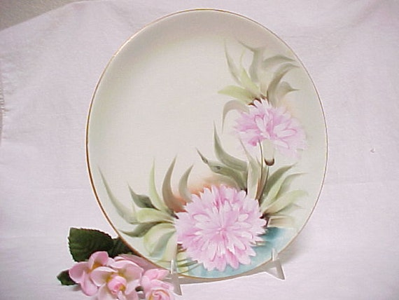 Vintage Hutschenreuther China Selb LHS Bavaria Decorator Plate, Hand Painted Pink Carnation Antique Wall Hanging, Home Decor Porcelain Dish