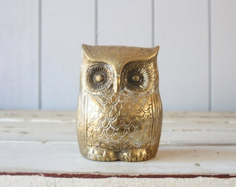 Vintage Brass Owl Bank // Solid Brass