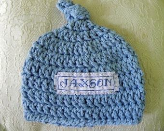 Personalized Hat Hand Stitched CHOOSE SIZE and Color Newborn to 6 Months