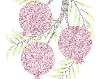 Pomegranates I: Micrography Print - Psalms 1-18
