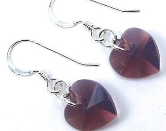 Swarovski Cyclamen Opal Heart Earrings, Opaque Purple Earrings