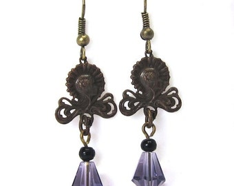 Vintage Purple Deco Crystal and Antique Brass Earrings, Antique Brass Finish Crystal Dangles
