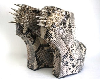 Spiked Heel Less Faux Leather Boots - Snakeskin