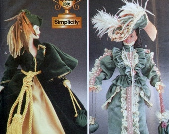 Rare Simplicity Diva Doll Collection 5800 Uncut Sewing Pattern Fashion Doll Clothing Wardrobe - Dress Cape Hat Parasol Purse