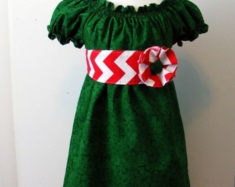Christmas Green Peasant Dress  with sash and flower  pin(12 mos, 18 mos, 2T, 3T, 4T, 5, 6, 8)