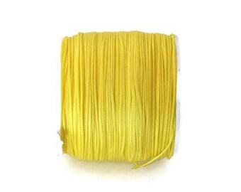 Neon Yellow Waxed Polyester Cord, Neon Yellow Nylon Bead Cord, Macrame Cord, Bracelet Cord (0.8mm) 10m - 11yards  S 40 005