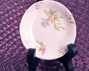 Small Plate Dish with Flowers Made in Hanley England  J G Meamin miniature