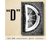 Letter D Alphabet Photography  Black and White 4x6 Photo Letter UNFRAMED