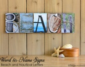 BEACH and NAUTICAL Alphabet Photography Sign  FRAMED, beach house signs