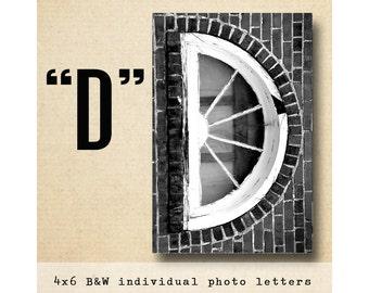 Letter D Alphabet Photography  Black and White 4x6 Photo Letter UNFRAMED