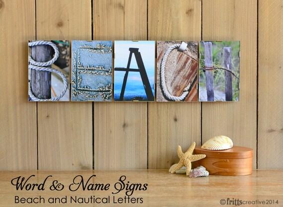 Alphabet Photography BEACH and NAUTICAL Sign  FRAMED, beach house signs